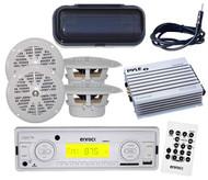 "Marine Boat Yacht Media Receiver AM/FM USB w/Cover 4x 4"" Speakers Amp w/Antenna"
