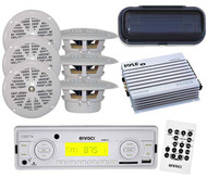 """EKMRW10 Boat Yacht MP3 USB SD Card Media Receiver 6 x  4"""" Speakers Cover & Amp"""