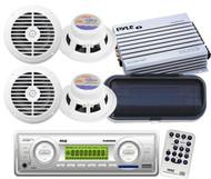 """New Pyle Marine Boat USB AM FM AUX Media Receiver Radio 4-6.5"""" Speakers Amp Pkg"""