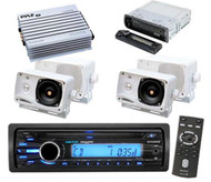 New CDXM20 Sony Marine Detach Face CD MP3 WMA Player + 4 Box Speakers  Amplifier