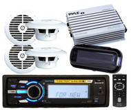 New Sony Marine MP3 Radio iPod Tune Tray USB Stereo 4 x Speakers 400W Amp