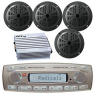 4 x 45 Watt JBL MR18.5 AM/FM Radio Waterproof Marine Stereo Receiver, Pyle PLMR51B 100 Watts 5.25'' 2 Way Marine Speakers, PLMRA400 Pyle 4 Channel 400 Watt Waterproof Marine White Amplifier