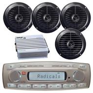 4 x 45 Watt JBL MR18.5 AM/FM Radio Waterproof Marine Stereo Receiver, PLMR67B Pyle 6 1/2'' Dual Cone Waterproof Stereo Speaker System (Black), PLMRA400 Pyle 4 Channel 400 Watt Waterproof Marine White Amplifier