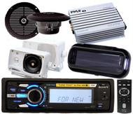 New Sony Marine Waterproof MP3 USB Radio iPod 4 x Speakers 400Wamp Stereo Cover