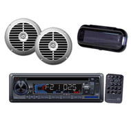 "Outdoor Marine Boat In dash CD MP3 AUX Radio + 2 6.5"" Silver Speakers & Cover"