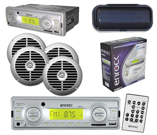 """AM/FM MP3 Marine Boat Receiver USB AUX Input w/Cover & 4 x 6.5"""" Silver Speakers"""