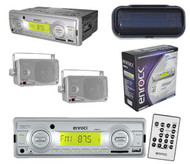 """Indash AM FM MP3 Player USB Input Pair of 3.5"""" Silver Box Speakers Splash Cover"""