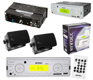 Enrock White Outdoor Marine Stereo Radio Receiver AUX Input 2 Black Box Speakers