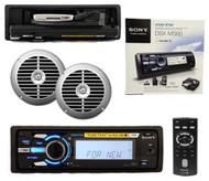 "Sony Marine DSXMS60 USB iPod iPhone Radio Receiver w/Remote 6.5"" Silver Speakers"