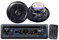 "New Marine Boat PLCD33MR CD SD USB MP3 AUX Radio w/6.5"" Round Speakers Black"