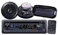 "Black Marine Boat USB CD MP3 AUX Radio w/Stereo Cover  2 x 6.5"" Round Speakers"