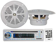 "PLCD35MR Marine Boat CD MP3 USB SD AUX Input Radio 2 x 4"" Round White Speakers"