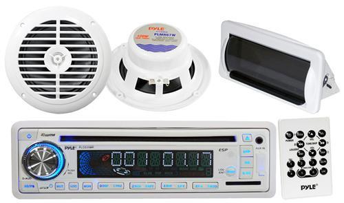 "In Dash Marine Boat CD MP3 USB Radio Receiver w/6.5"" Pair Speakers White w/Cover"