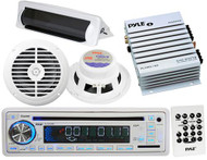 "New Pyle Marine Boat CD MP3 AUX USB Radio 6.5"" Speakers Amp & Splashproof Cover"