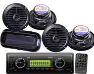 """New Marine Boat Yacht USB AUX MP3 Radio Player & 4 X 6.5"""" Speakers Kit + Cover"""