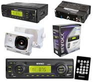 """Black Marine Boat Radio USB AUX Input Media Receiver Pair of 3.5"""" Box Speakers"""