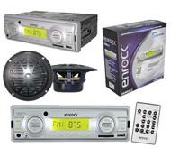 EKMRS12 In Dash Marine Boat MP3 USB AUX SD Radio Receiver & 2 Black Speakers Pkg