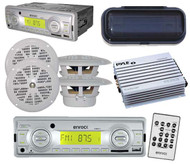 """Indash Marine AM/FM MP3 Media Receiver w/ Remote 4 x 4"""" White Speakers withCover"""