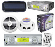 """Silver Marine Radio SD Card USB Input MP3 w/Pair of 6.5"""" Round Speakers + Cover"""