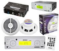 "200W New Enrock AM/FM USB AUX Input Media Receiver Pair 6.5"" Speakers White"