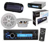 """Boat Marine Radio CD/MP3 Receiver AUX Input iPod Input 2 x 4"""" Speakers & Cover"""