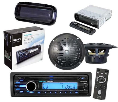 new sony outdoor use cd radio media receiver aux input 4. Black Bedroom Furniture Sets. Home Design Ideas