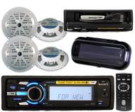 "New Sony Marine iPod Tune Tray USB Radio 4 x 5.25"" Speakers Splashproof Cover"