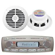 4 x 45 Watt JBL MR18.5 AM/FM Radio Waterproof Marine Stereo Receiver, PLMR67W Pyle 6 1/2'' Dual Cone Waterproof Stereo Speaker System (White)