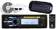 "208W Sony DSX-MS60 Marine MP3 Player USB 2 x 6.5"" Speakers Wireless Remote Cover"