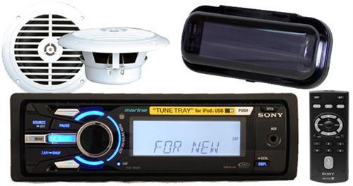 "208W Sony DSX-MS60 Marine MP3 Player USB 2 x 6.5"" Speakers Wireless Remote Cover"