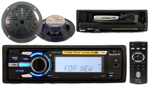 Sony New 208W DSXMS60 Marine iPod Tune Tray MP3 Radio 2 Speakers Wireless Remote