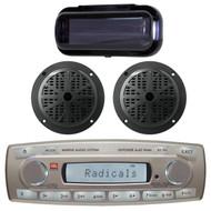 4 x 45 Watt JBL MR18.5 AM/FM Radio Waterproof Marine Stereo Receiver, Pyle PLMR51B 100 Watts 5.25'' 2 Way Marine Speakers, PLMRCB1 Pyle Water Resistant Radio Shield (Black)