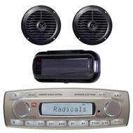 4 x 45 Watt JBL MR18.5 AM/FM Radio Waterproof Marine Stereo Receiver, PLMR67B Pyle 6 1/2'' Dual Cone Waterproof Stereo Speaker System (Black), PLMRCB1 Pyle Water Resistant Radio Shield (Black)