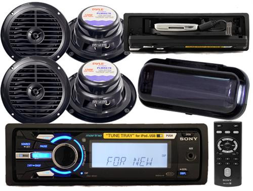 208W Sony DSXMS60 Marine Waterproof iPod Tune Tray MP3 2 Pairs of Speakers Cover