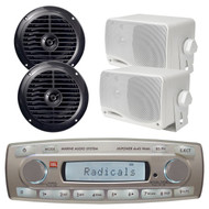 4 x 45 Watt JBL MR18.5 AM/FM Radio Waterproof Marine Stereo Receiver, PLMR24 Pyle 3.5'' 200 Watt 3-Way Weather Proof Mini Box Speaker System (White), PLMR67B Pyle 6 1/2'' Dual Cone Waterproof Stereo Speaker System (Black)