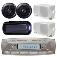 4 x 45 Watt JBL MR18.5 AM/FM Radio Waterproof Marine Stereo Receiver, PLMR24 Pyle 3.5'' 200 Watt 3-Way Weather Proof Mini Box Speaker System (White), PLMR67B Pyle 6 1/2'' Dual Cone Waterproof Stereo Speaker System, PLMRCB1 Pyle Water Resistant Cover