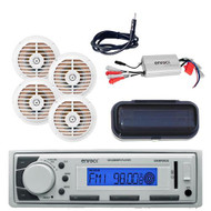 New Enrock Marine Receiver FM/AM/AUX/USB Input w/Cover, Antenna, Amp, 4 Speakers - MPE2016