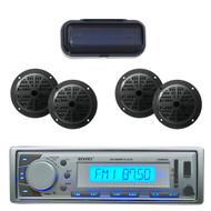 "EKMR20SL Marine In-Dash Radio MP3 & SD USB AUX iPod w/4 x 4"" Speakers + Cover - MPE3002"