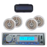 "EKMR20SL Marine Radio MP3 USB SD AUX iPod Input Receiver 5.25"" Speakers+ Cover - MPE3020"