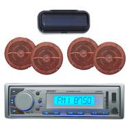 "EKMR20SL Boat In-Dash Radio MP3 USB AUX iPod w/6.5"" Wood Grain Speakers + Cover - MPE3038"