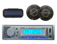 EKMR20SL Boat FM/AM Radio MP3 USB SD iPod Input Silver Stereo w/Cover 2 speakers - MPE9402