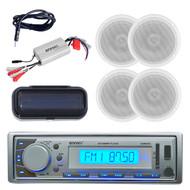 New Enrock Silver Marine MP3 USB FM/AM Radio/Cover 800W Amp 4 Speakers & Antenna - MPE9412