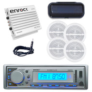 New Silver Yacht Boat AM/FM MP3 USB Receiver/Cover 4 Speakers+ 400W Amp /Antenna - MPE9417