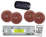 Enrock EKMRS12  Motorcycle Marine MP3 USB Port SD Radio Receiver 4 Wood Speakers - MPE9719