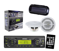 Enrock EKMRB11 InDash Boat Marine MP3 USB SD Receiver w/Cover, 2 x 150W Speakers - MPE9801