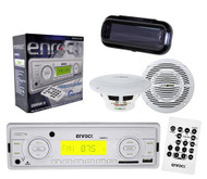 """EKMRW10 In Dash Boat Marine MP3 USB AM FM Receiver w/Cover and 2x 6.5"""" Speakers - MPE9901"""