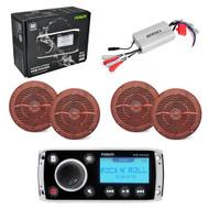 800W Amp/4X Wood Like Speakers/New MSRA50 Boat AM/FM Radio iPhone iPod Receiver - MPF5109