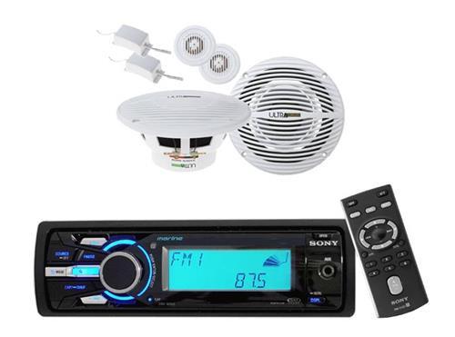 "Sony DSXMS60 Marine Boat MP3 USB iPod Waterproof Radio w/2 x 6.5"" Round Speakers - MPS6101"