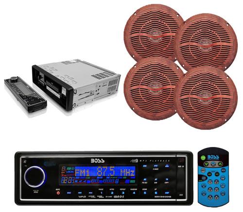 "Black  Marine AM/FM USB AUX Receiver and 4x 6.5"" Marine Wood Grain Like Speakers - RBMPB1719"