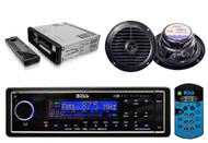 "Boss Black Audio Marine MP3 AUX SD Receiver 2 6.5"" Blk 120W Waterproof speakers - RBMPB1722"